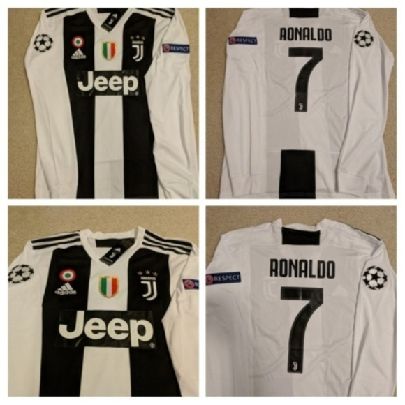 new product b3221 2213e Ronaldo Juventus Long Sleeve Champions Patches NWT